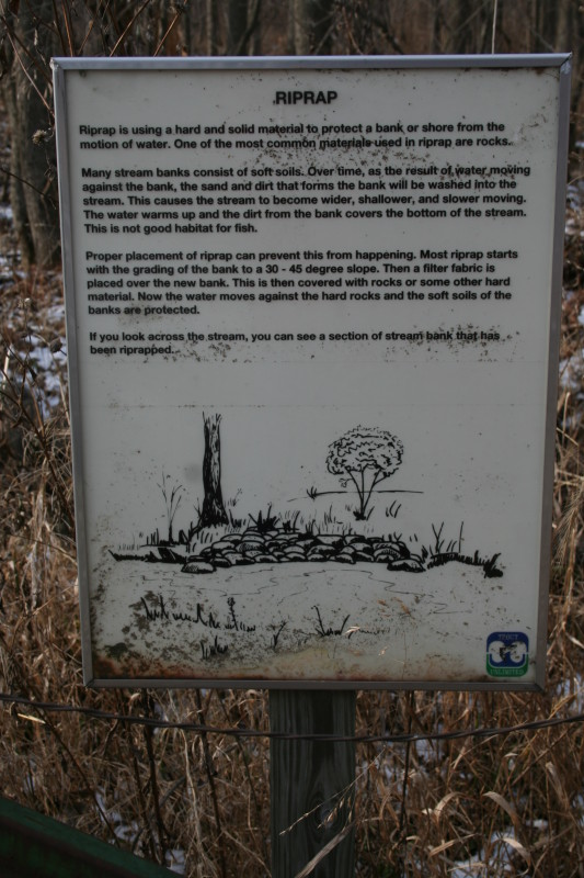 Bank riprap sign with detailed description