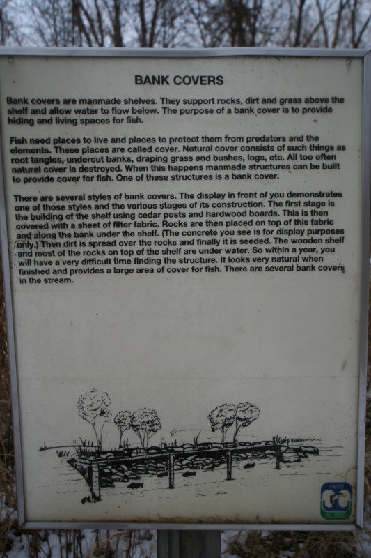 Trout stream bank cover signage with description