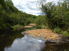 Results in beautiful meandering stream and planted grass