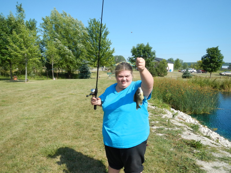 Samantha showing off her sunfish