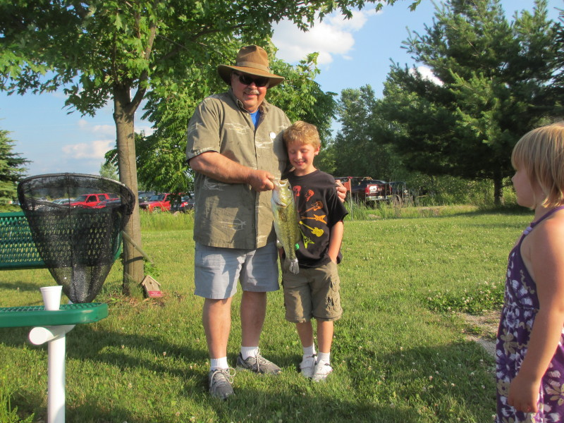 "Jack and his customer with 17"" Largemouth bass"