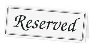 reserved Table Topper