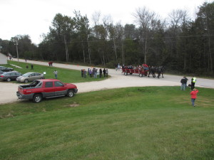 Horse drawn wagon to open house