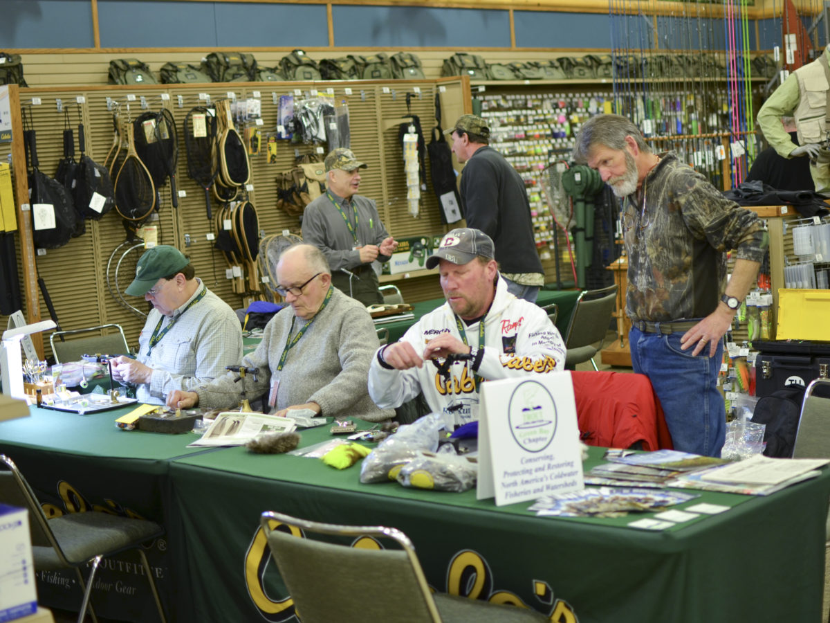 Cabela's fly tying crew getting set up