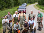 Brush bundling crew on North Branch Oconto