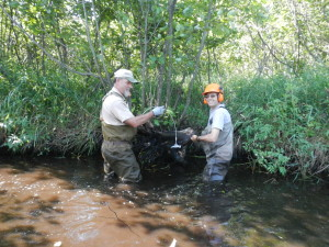 Jim & Tom anchoring a log cover for trout