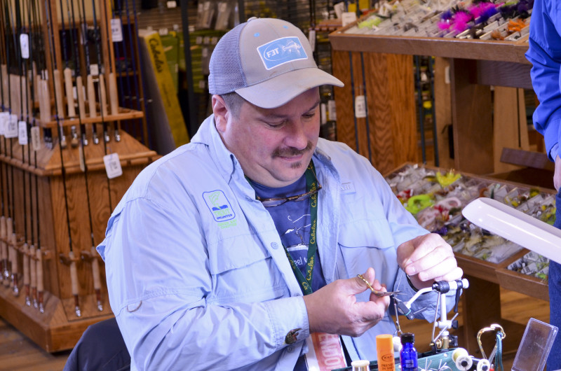 Paul working on one of Jerry's Panfish creations