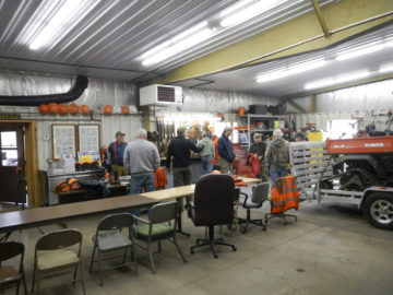 Chainsaw students gathering at work center
